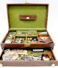 Vintage Jewelry Box Filled with Costume Jewelry Foreign Coins and Assorted Ephemera