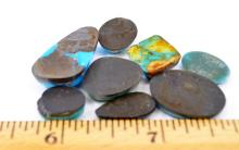 62.7 Carat Lot of 8 Polished and Most Backed Turquoise Cabochons For Jewelry Making