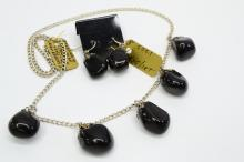 29 Gram Sterling Silver and Polished Obsidian Apache Tears Jewelry Suite 18