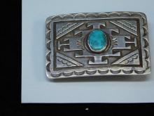 52G Vintage Navajo Or Hopi Sterling And Turquoise