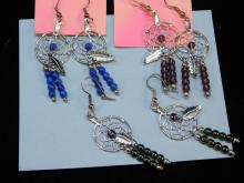 3 Native American Style Dream Catcher Earrings