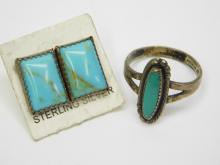 Vintage Navajo Sterling And Turquoise Square