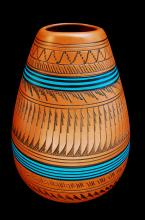 NM Navajo Etched Signed Watchmen Clay Pot