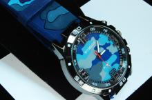 Womage Blue Camoflauge Mens Dress Watch