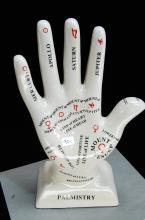 Glazed Ceramic Palmistry Hand
