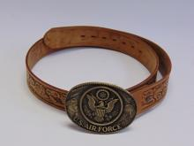 US Air Force Brass Belt Buckle on a Size 36 Chambers Tooled Leather Belt