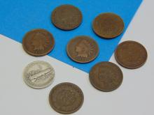 Lot of 1 1936 Mercury Dime and 7 Indian Head Cents From 1891 to 1907