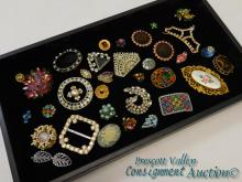 Vintage Rhinestone Costume Jewelry Lot of Brooches Buckle and Earrings
