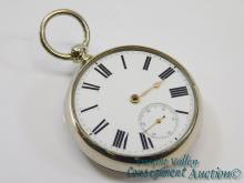 Antique A.M. Watch Co Waltham Marlyn Square Key Wind 18S 11 Jewel Pocket Watch in Fahys Silverore Case
