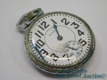 Antique Waltham Crescent St 16S 17 Jewel Pocket Watch with Train Engraved on Back