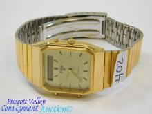 Pulsar V031-5080 Gold Tone Men's Analog and Digital Wrist Watch