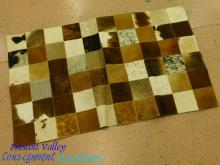 Patchwork Animal Hide Leather Fabric Backed Rug