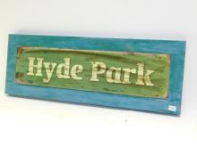 Modern Tin & Wood Hyde Park 22x8 Sign