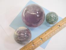 Amethyst Lepidolite & Flourite Specimen Sphere Lot
