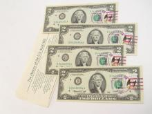 New Postal Cancelled Sequential $2 Bill Lot Of 4