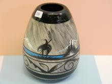 1960 Etched Painted Navajo Signed Pot