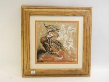 Signed Watchman End Of The Trail Sand Painting