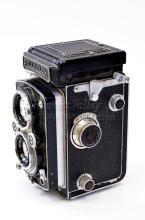 Vintage Rolleiflex Synchro Compur Franke & Heidecke Twin Lens Medium Format Camera with Lens Cover and Instruction Manual