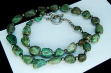 Sterling Green Turquoise Nugget Bead Necklace