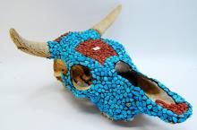 Blue Howlite Red Jasper Nugget Encrusted Cow Skull