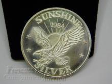 1984 Sunshine Mining One Troy Ounce .999 Fine Silver Bullion Round