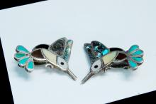 Vintage 10.5g Sterling Zuni Hummingbird Earrings