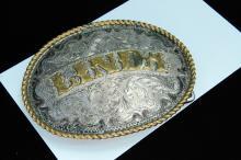 Vintage Western Style Engraved Belt Buckle