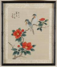 UNKNOWN ARTIST - BIRDS ON SILK - Watercolor and ink composition on silk of two birds perched on branches of flowers, housed in black...