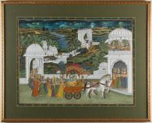 UNATTRIBUTED - KRISHNA ARRIVING AT TEMPLE - Gouache on linen scene of Krishna leading parade of followers and cattle to temple gates...