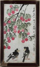 UNKNOWN ARTIST - CROWS AND FLOWERS - Reproduction of older image, ink and watercolor on paper image of two crows under tree with lar...