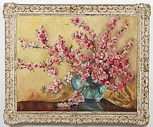 HAZEL RHEINSCHILD (1901-1988, CA) OIL PAINTING ON CANVAS - Signed at lower right, this floral still life portrays pink flowers in a...