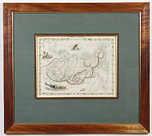 19th CENTURY HAND-COLORED ENGRAVED MAP ON PAPER - Map titled