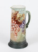 LIMOGE PORCELAIN TANKARD MARKED JPL FRANCE - Painted with clusters of purple, white and rose colored grapes with autumn foliage. Twi...