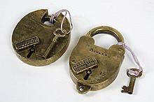 TWO BRASS ARGENTINIAN PADLOCKS WITH KEYS - One is marked Cesar Piuri, Buenos Aires, 12 and Aguara. The other padlock is marked P. Cr...