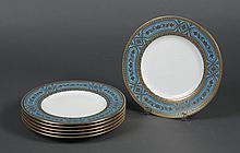 SET OF 6 MINTONS TIFFANY & CO. CHINA DINNER PLATES - Enamel jeweled dinner plates made by Mintons, England for Tiffany & Co, NY, sig...