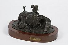 HERBERTO JUAREZ (1932-2008, Mexico) SCULPTURE - Bronze of matador and bull bronze attributed to artist Herberto Juarez. A bullfighte...