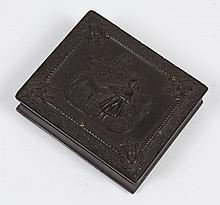 UNION GUTTA PERCHA DAGUERREOTYPE CASE - The covers are in a memorial style with a raised figure of a young girl within a frame border