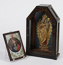 PERUVIAN RETABLO OF VIRGIN MARY AND REVERSE PAINTED PORTRAIT OF JESUS - Cold painted Virgin and Baby Jesus in molded/carved relief