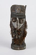 CARVED WOOD OCEANIC PAPUA NEW GUINEA MALE ANCESTRAL FIGURE W/MASK - Large handcarved piece from Sepik River region representing a st...