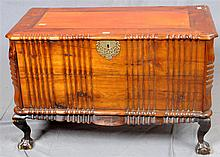 BLANKET CHEST - , Chippendale-style South African Stinkwood with shaped molding, lift-top, original brass carry handles and hardware...