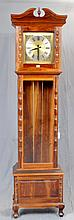 TALL CASE CLOCK - Colonial-style South African Stinkwood with three-weight time-and-strike movement, brass face with roman numeral d...