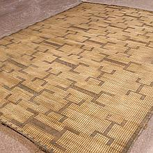 ADDENDUM: TEXTILE: REED MAT - Antique Moroccan reed and cotton cord with multiple rectilinear geometric forms in an alternating repe...