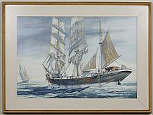 THOMAS WELLS (1916-2004, WA) WATERCOLOR AND GOUACHE - Painting on paper of a large ship in the ocean. Signed at lower right. Titled...
