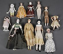 ASSORTMENT OF DOLLS - Includes 5 doll house dolls, 3 with bisque head and 1 china head; all with cloth bodies, condition as seen; on...