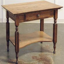 WORK TABLE - Antique American oak with rectangular top, single storage drawer with brass hardware, straight legs with turned accents...