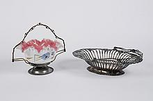 VICTORIAN GLASS BRIDES BASKET AND NICKEL SILVER FRUIT DISH - Ruffled and cased brides basket decorated with blue bachelor buttons; r...