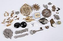 VINTAGE COSTUME JEWELRY - Some pieces marked, some silver, including chains, ladies' vintage amber rhinestone pin, Monet pin, Italia..