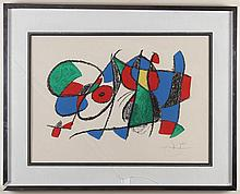 JOAN MIRO (1893-1983, Spain) - ABSTRACT COMPOSITION - Lithograph on paper with pencil signature from artist at bottom right, housed ...