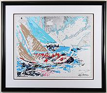 LEROY NEIMAN (1921-2012, NY) - AMERICA'S CUP - Color serigraph of a boat race laid over a nautical map of Martha's Vineyard