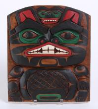 CARVED NATIVE AMERICAN PLAQUE OF A BEAVER - Unknown artist. Fine carved and painted plaque representing a beaver. Traditional totemi...
